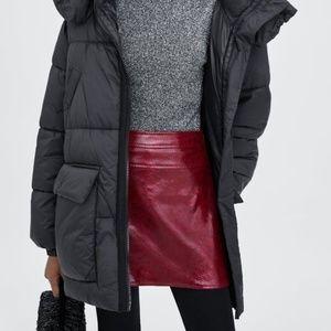 Zara Red Snakeskin Skirt